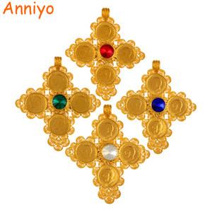 Anniyo éthiopien Big Cross Pendentifs Colliers Femmes / Hommes Or Couleur Bijoux Afrique Coin Croix / Erythrée Habesha Collier # 044202