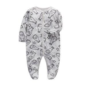 بذلة الطفل ملابس الأولاد نائمة حديثي الولادة الرضع طويلة الأكمام 3 6 9 12 أشهر القطن بيجامة مولود جديد ملابس الطفل الفتيات