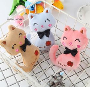 Novo 3 Cores 12 cm Mini Bonecas Gato de Pelúcia Animal Stuffed Kitty Cat chaveiro TOY Crianças Festa De Pelúcia TOY Bouquet Plush Dolls DHL