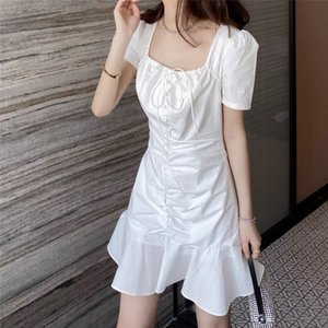 Paper man was thin and small white skirt French pleated square collar drawstring short dress women