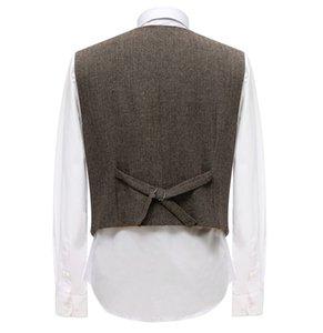 Men's Business Suit Vest Double Breasted Herringbone Pattern Wool Waistcoat For Groomsmen Wedding Prom Evening Formal Vest