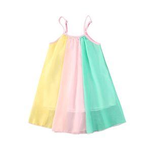 pudcoco Enfants Bébés filles en vrac vacances de Sling Rainbow Printing Party en mousseline de soie Casual Mini robe Belle Vêtements pour enfants