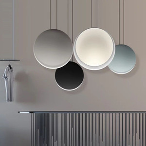 룸 라운드 샹들리에 바 창조적 인 주방 달 램프기구 식사 스칸디나비아 샹들리에 포스트 모던 미니멀 한 펜던트 램프 거실