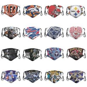 Máscara 2020 de los nuevos hombres de la capa de diseño de 5 máscaras contra el polvo Rugby Bengals equipo Ravens jaguares de los titanes de Jefes Steelers Broncos Moda transpirable cara