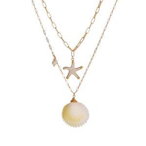 Altın Zincirler Shell Kolye Yeni Shell Denizyıldızı tasarımcı kolye katmanlı İstiflenebilir Salkım Moda Hip hop tasarımcısı Takı N190