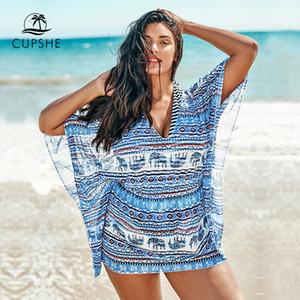 2020 Plus Size Boho Elephant scollo a V Cover Up Women Sexy Large Size abito tunica Beach 2019 Estate costume da bagno Beachwear