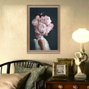 Abstract Wall Art Print pink flowers bird and girl head Poster Canvas Painting Pictures Home Decoration Scandinavian Unstretched