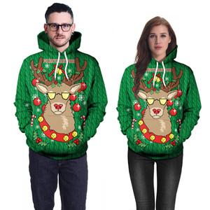 Ciervos de la Navidad sudaderas mujeres de los hombres de impresión en 3D verde con capucha sudor Homme suelta con capucha sudadera con capucha Sudadera hombre Tops Hip Hop