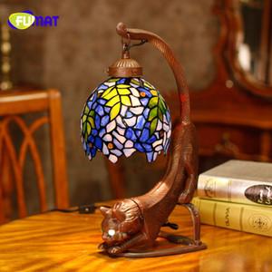 Fumat candeeiro de mesa de vidro estilo retro jardim história uva vitral gato stands lâmpada sala de estar do hotel luzes de cabeceira