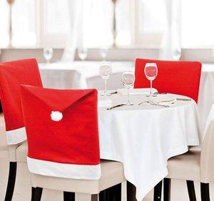 Umweltfreundlich Weihnachtsmann Clause Hat Hussen Dinner Chair Cap Sets für Weihnachtsweihnachtsdekorationen Partei-Feiertag Festliches Rot
