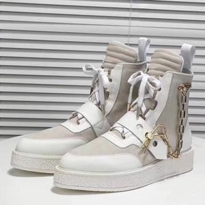 Nova Chegada de Luxo Mens Creeper Ankle Boot com Pin de Corrente Dourada Martin Botas de Couro Das Mulheres Botas de Monograma Sapatilha Sapatilha Sapatos de Grife