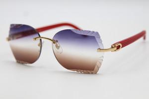 Mayor tallado vidrios de la lente sin rebordes 8200762A Rojo tablón gafas de sol unisex óptico Plank Lentes de alta calidad Lentes de mujer de marca