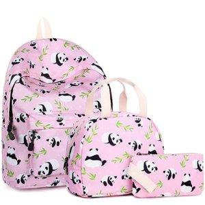 D4 New Panda Schoolbag Primary and Secondary School Lunch Bag Pencil Case Three-Piece Cartoon Children's Schoolbag