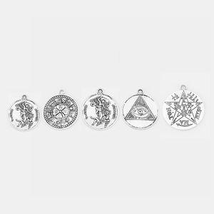 3pcs d'argento antico Sanmiguel ARCANGEL / TETRAGRAMMATON / LEAF zodiacale / fascini EYE Pentagram Pagan Wiccan Amulet Dichiarazione Pendant