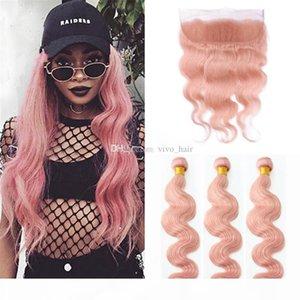 8A Indian Pink Tessiture capelli con Pizzo frontale Chiusura con fasci di colore rosa dell'onda del corpo umani tesse capelli con 13 * 4 Pizzo frontale