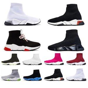 Balencaiga Siyah Beyaz Yeşil Pinks Gri kadınlar iskarpin yukarı dantel ile Yeni Gelenler Erkek Hız Traniers Temizle Sole ağırlık Çorap Ayakkabı