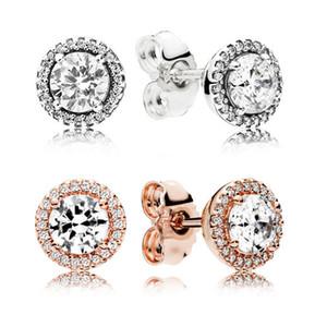 925 Sterling Silver Square Big CZ Brinco de Diamante Fit Pandora Jóias ouro rosa banhado Mulheres Ear brincos-JJE013