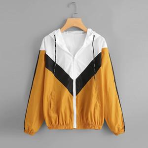 Frauen Casual Langarm-Kapuzen-Zipper-Taschen-Stitching-Kontrast-Farben Windjacke Herbst und Winter