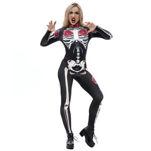 Hirigin Costume Os mécanique Rose Effrayant Costumes d'Halloween pour les femmes Squelette Crâne floral papillon Bodysuit