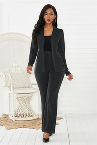 Business Slim Womens Suits Long Sleeve Lapel Neck Solid Color Womens Pant Suits Casual Ladies Two Pieces Sets