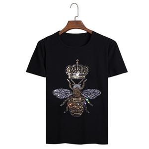 Arı Taç Elmas Tasarım Erkek Yaz T-Shirt Ekip Boyun Kısa Kollu Pamuk Tişörtleri Hommes Casual Yumuşak Artı Boyutu Tees Tops