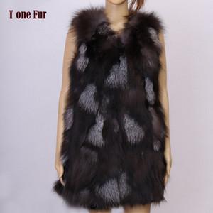 2019 nueva llegada real chaleco de piel natural de las mujeres del chaleco del invierno Moda TonFur marca de fábrica libre de envío KFP577