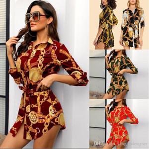 Frauen Dünne Desinger Shirts Kleider Revers Hals Langarm Luxus Herbst Stil Frühling 2020 Weibliche Kleidung