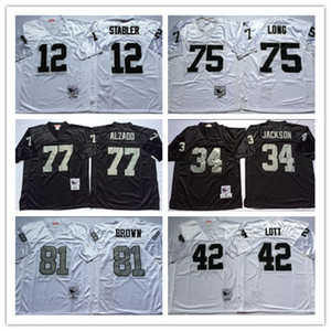 NCAA Football 81 Tim Brown maglie 12 Ken Stabler 34 JACKSON 75 Howie Long 42 Ronnie Lott 77 Lyle Alzado Vintage Jersey Bianco Nero cucito