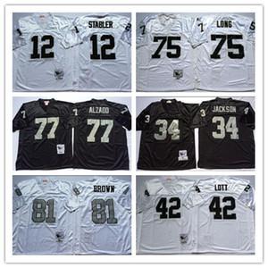 NCAA Football 81 Tim Brown Jersey Jerseys 12 Ken Stabler 34 JACKSON 75 Howie Long 42 Ronnie Lott 77 Lyle Alzado Branco Vintage preto costurado