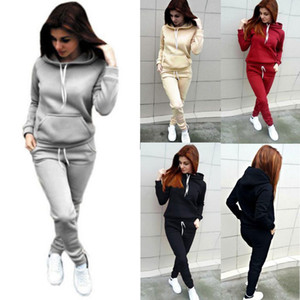 2Pcs Set Women Winter Loungewear Tracksuit Lady Hoodies Sweatshirt Jogger Pants