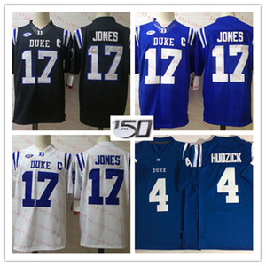 Mens NCAA Duke Blue Devils Daniel Jones College Football Jerseys costurado Real # 4 Myles Hudzick Duke Blue Devils Jersey