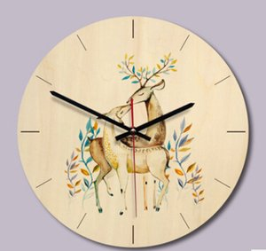 Creative Reindeer Painted Wooden Wall Clock Europe Style Brief Elk Pattern Clocks Living Room Bedroom Decoration