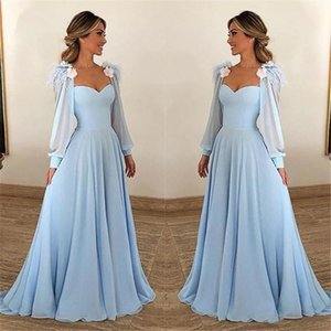 2020 Evening Dresses Prom Party Sweetheart with Long Sleeves Floor Length Chiffon Custom Made Formal Gowns