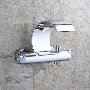 욕실 싱크 수도꼭지 SoveCho 벽 장착 욕조 폭포 수도꼭지 믹서 샤워 노출 밸브 바닥 황동 욕조 TAP TL029