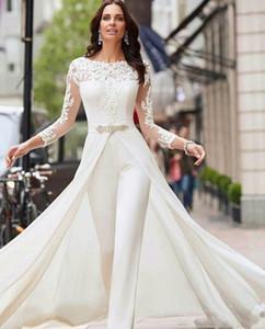 Mangas largas elegantes Lace 2020 Vestidos de novia Jumpsuit Applique Sweep RuChed Sweep Tren Boda Vestidos nupciales Robe de Mariée