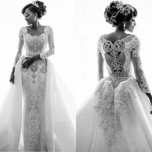 Luxurious Beaded Crystal Mermaid Wedding Dresses Detachable Skirt Long Sleeve Plus Size Country Vestido de novia Bride Dress Bridal Gown