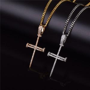 Микро проложить ледяной кубический Циркон ногтей крест кулон ожерелье ювелирные изделия с кубинской цепи или теннисной цепи