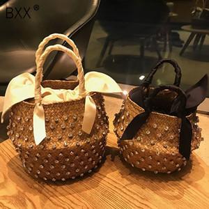 [BXX] Handmade Straw Bag Verão Holiday Beach Bag Com Pérola Senhoras tecido Bucket Diamante Hot Sale Bolsas HL815