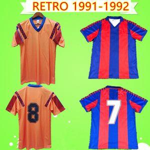 Barcelona basa jersey  91/92 Retro Futbol Gömlek 1991 1992 futbol forması Eski evden uzakta turuncu klasik camiseta Stoichkov Koeman Laudrup Bakero Begiristain
