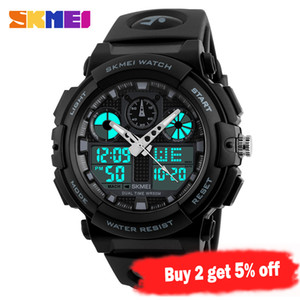 SKMEI Sports Watch Men Digital Double Time Chronograph Watches 50M Watwrproof Week Display Wristwatches Relogio Masculino 1270