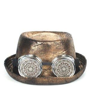 Свинина Pie Hat Кожа стимпанк Hat For Men Fedora Снасти очки Flat Top для Gentleman Bowler Gambler Косплей