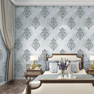 Chambre Qualité européenne en trois dimensions haute Chambre 3D Wall Paper Background non tissé Living Wall Damas Luxe Livre vert paon Jmuk