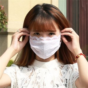 Máscaras Lace Popular senhoras 2 camada sólida Cores Anti Gota UV Feminino Respirador Mascherine Ciclismo Boca máscara branca roxo 2jz E1