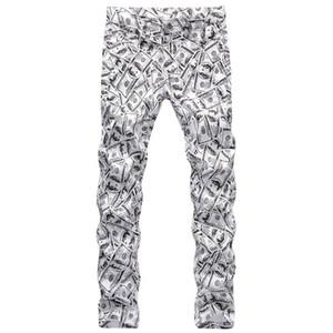 Gedruckt Hosen Hiphop-Dollar-Muster Mode Male Bleistift-Hosen-Reißverschluss-gerade beiläufige Jungen-Hose Frühling Mens 3D