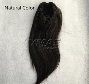 Human Hair Extensions Silk Straight Natural #1 #1B 12 to 26 Inch 120g 160g Tight Hole Clip In Drawstring Ponytails