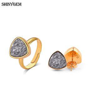 Оптовая новый треугольник минеральный Кристалл серьги кольцо партии комплект ювелирных изделий золотой сверкающий Druzy натуральный камень комплект ювелирных изделий для женщин
