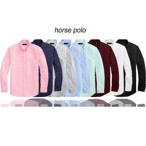 camisa pólo Mens pequeno cavalo bordado Polo manga comprida cor sólida Slim Fit Casual Men negócio camisetas roupa de alta qualidade