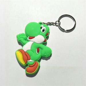 Super Mario Bros PVC 수치를 두 배 측 키체인 마리오 루이지 요시어가 모델 인형 부드러운 PVC 키 체인 펜던트