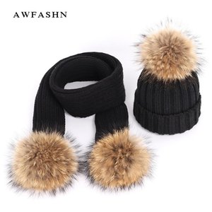Automne et hiver chapeaux de coton tricoté femmes chaude fourrure de raton laveur pompon écharpe de ski chapeau tricoté pour les enfants Caches parent-enfant Bonnet