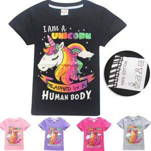 5 ألوان الصيف أطفال بنات يونيكورن الكرتون قصيرة الأكمام تي شيرت تصميم الأزياء الملابس قمم الأطفال القطن تيز الملابس M1733